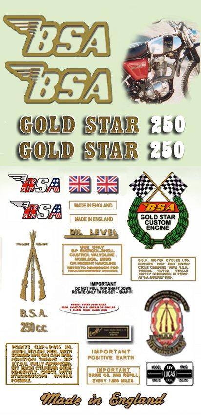 1971-72:  B25T - DECAL SET- BSA Gold Star
