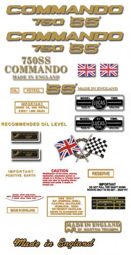 Norton Commando 750SS decals - RESTORERS DECAL SET