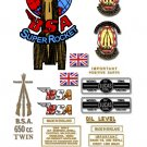 1958-63: BSA Super Rocket Decals - A10SR Decal set