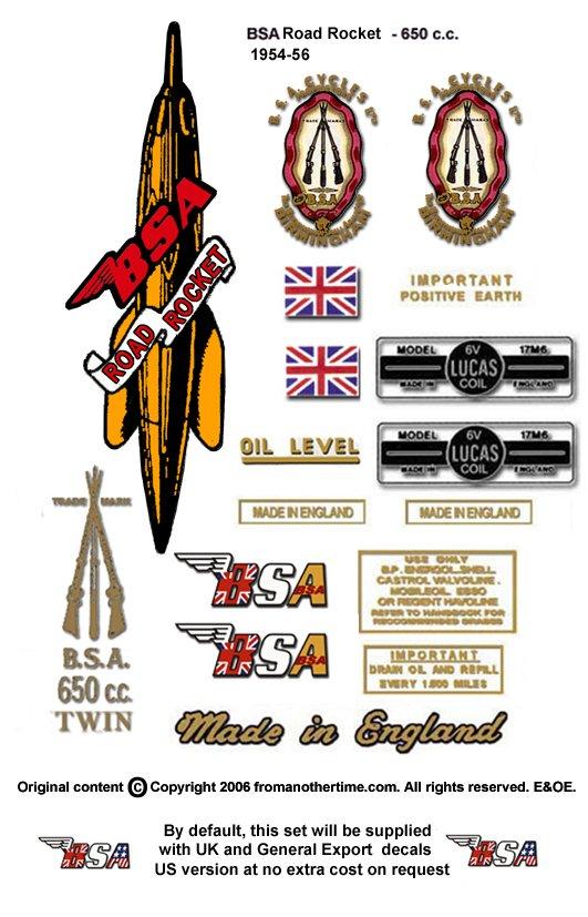 1954-55:  BSA Road Rocket Decals - A10RR Decal set