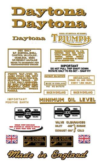1970-72: T100R T100T -DECAL SET- Triumph Daytona Decals