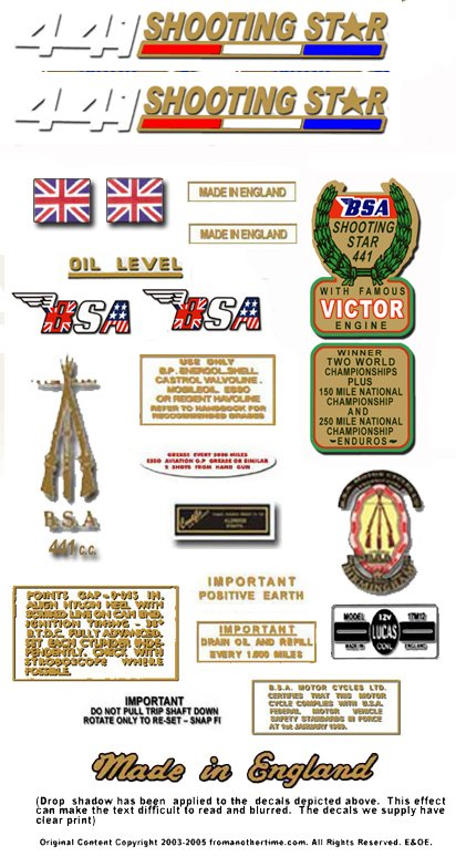 1970: BSA Shooting Star Decals - B44SS Shooting Star Decal Set