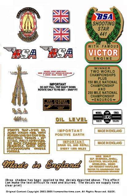 1966-67: BSA Shooting Star Decals - B44SS  Shooting Star Restorers Decals