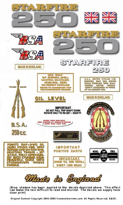 1969 to 70: B25 - BSA Starfire Decals - BSA B25 decals