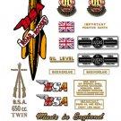 1956-57: BSA Road Rocket Decals - A10RR Decal set