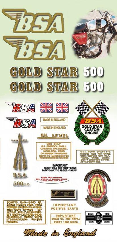 1971-72:  B50T - DECAL SET- BSA Gold Star