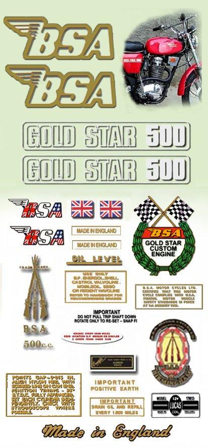 1972: B50SS - DECAL SET- BSA Gold Star