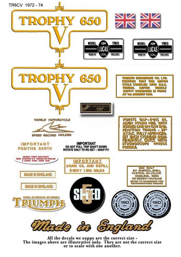 TR6CV: 1972-73 - DECAL SET- Triumph Trophy