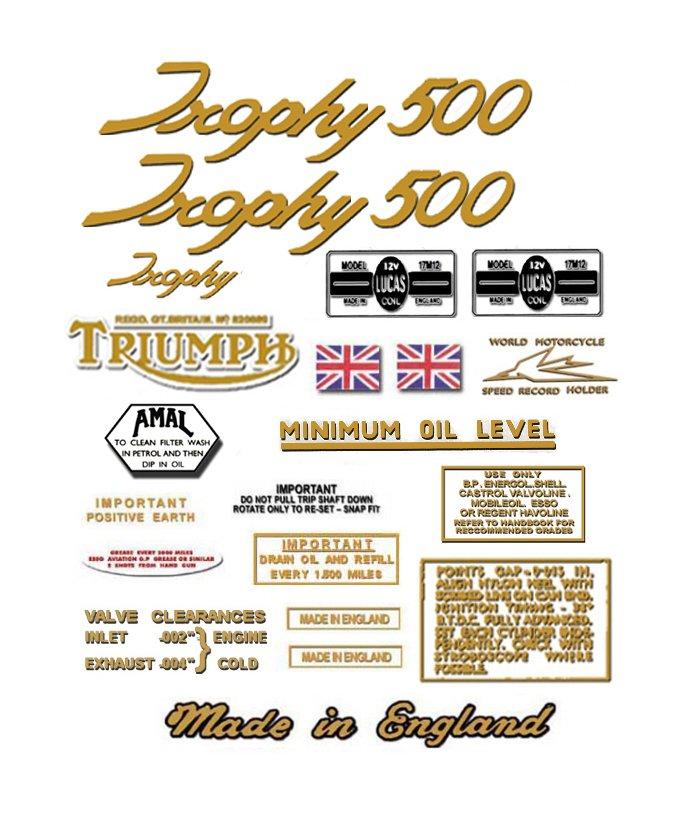 1966-67: Triumph Trophy Decals - RESTORERS DECAL SET- Trophy T100C TR5C 500cc