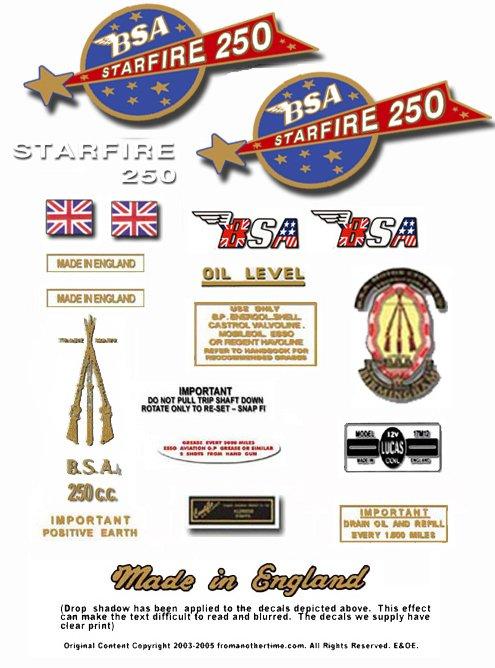 1967: BSA B25 decals - BSA Starfire Restorers Decalset