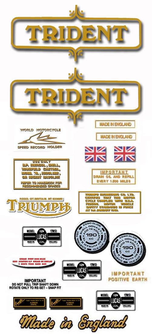 1971-72: Triumph Trident Decals  -  Triumph T150 Restorers Decal set