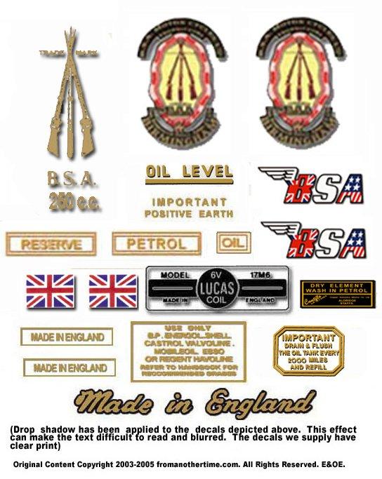 1958-63: BSA C15 Star Decals -  BSA C15 Restorers Decal Set