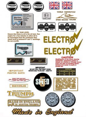 1980: Bonneville T140ES Decals -  NTV DECALS - Triumph Bonneville Decal set