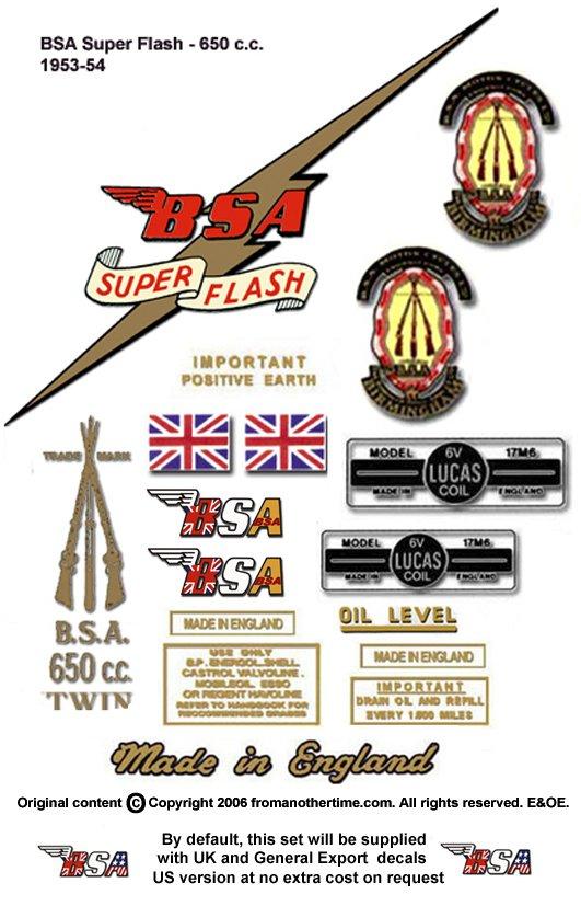 1953-54: BSA Super Flash Decals - Super Flash  A10 A10SF Restorers Decal Set