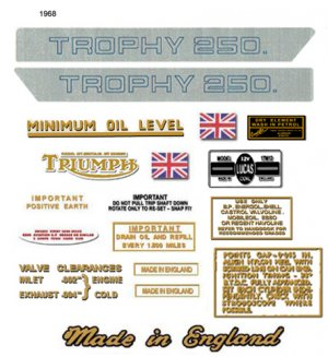 1968: Triumph Trophy Decals -  RESTORERS DECAL SET - Trophy TR25W 250cc