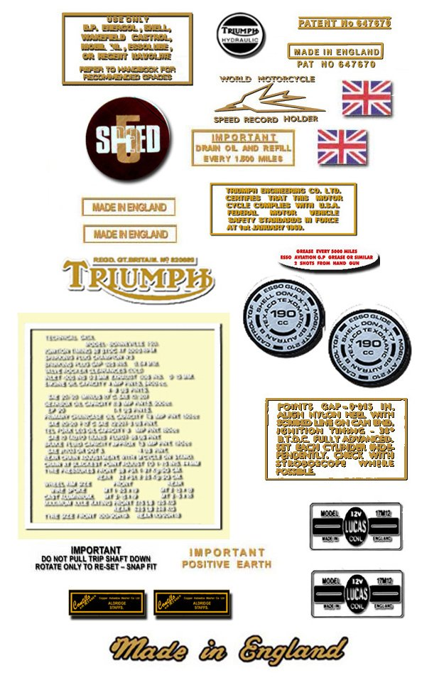 1974: Bonneville T140 T140V  T140RV Decals -PART SET- Triumph Bonneville Decals