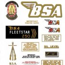 1969-70: BSA B25FS Fleetstar Decals - B52FS Restorers Decals