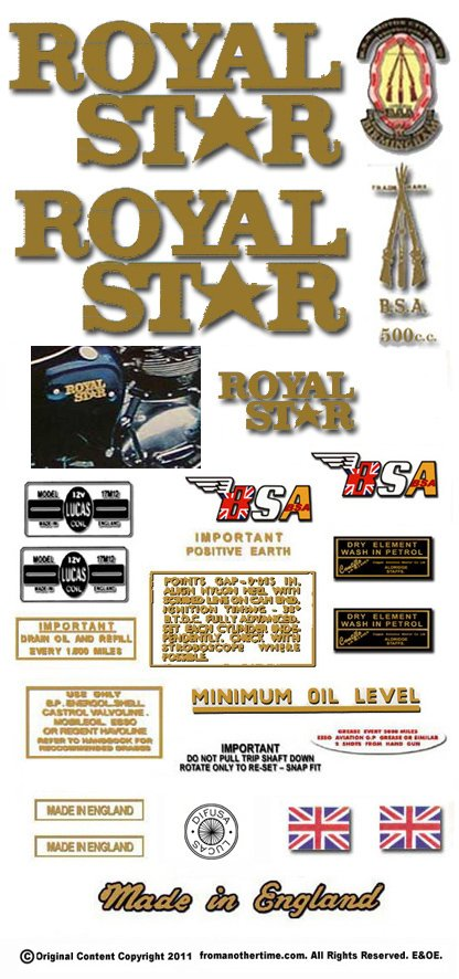 1969-70: BSA A50 Royal Star Decals - Royal Star Decalset