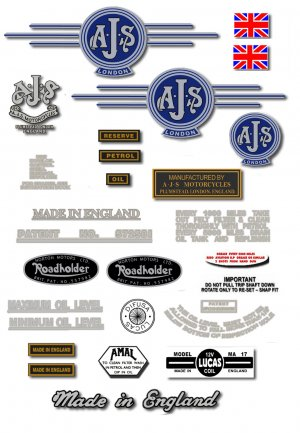 1962-63: AJS Model 14CSR Decals - AJS M14  restorers decals (Silver or Gold)