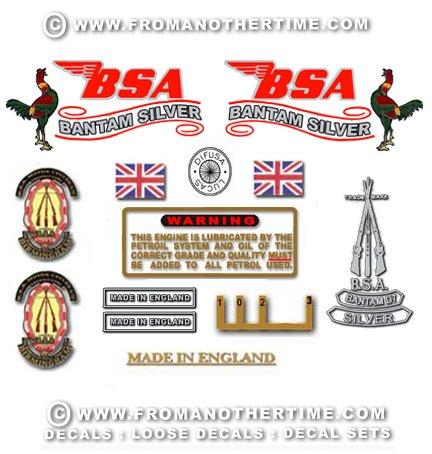 1966-69: BSA Bantam D7 Silver decals - Bantam D7 Restorers Decal Set