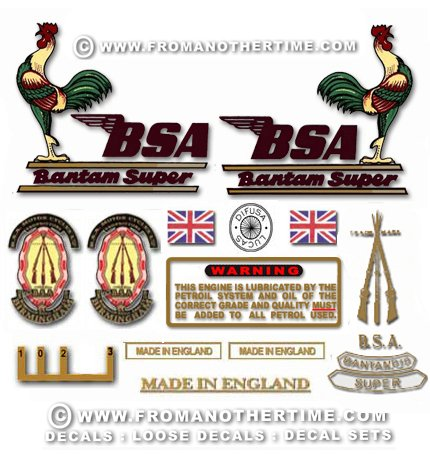 1967: BSA Bantam D10 Super decals - BSA Bantam D10 restorers decalset