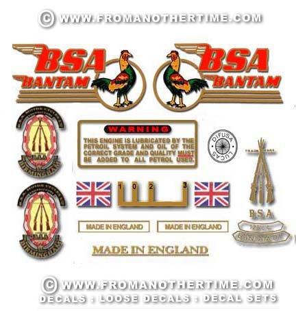 1956-63: BSA Bantam D1 Decals - Bantam D1 Restorers decal set
