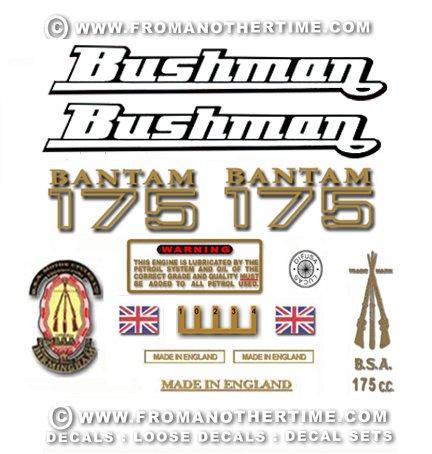1969-70: BSA Bantam D175B Decals - Bantam Bushman restorers decal set