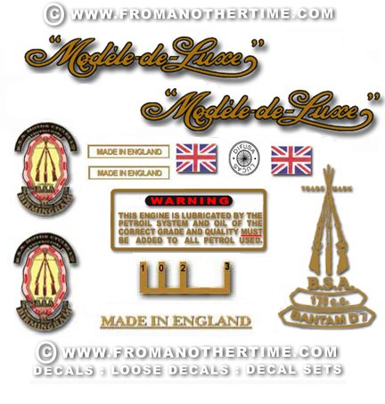 1964-67: BSA Bantam D7 De-Luxe Decals - Bantam D7 Restorers decal sets