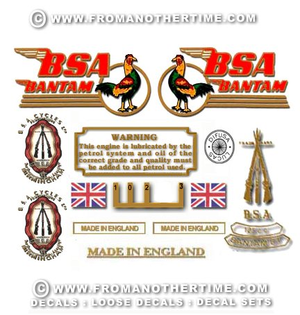 1949-55: BSA Bantam D1 Decals - D1 Restorers Decal Set