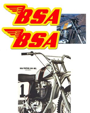 BSA Tank Decals - Red with Yellow outline -1968 to 74 Models