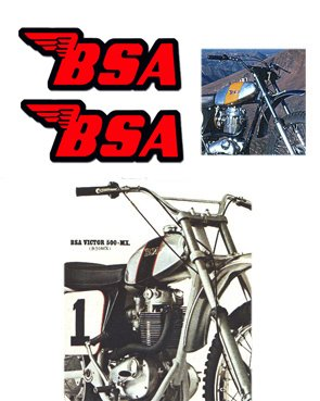 BSA Tank Decals - Red with Black outline -1968 to 74 Models