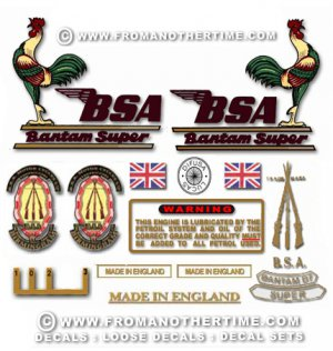 1959-66 : BSA Bantam D7 Super - Bantam D7 Super restorers decalset