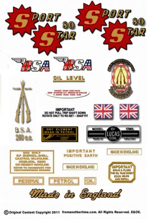 1962-65: BSA Sport Star Decals - Restorers Decals - BSA SS80 Decals