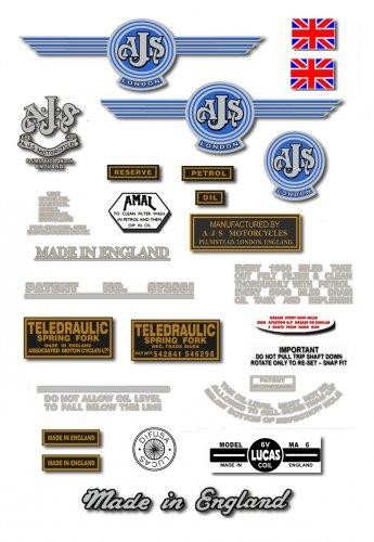 1957-58: 7R,16,16C,16S,16CS,18,18C,18S,18CS - AJS DECALS (Met Silver)