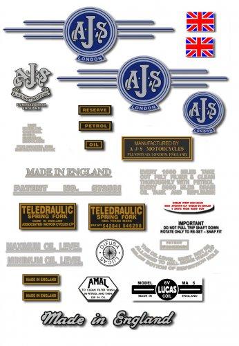 1961-63: 7R,16,16C,16S,16CS,18,18C,18S,18CS - AJS DECALS (Met Silver)