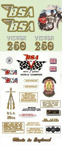 1971: BSA  B25T Decals  - RESTORERS DECALSET- BSA Victor Trail Stickers (Adhesive transfers)