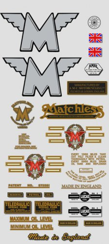 1956-61: Matchless Twins -RESTORERS DECAL SET- G9 G11 G12 Stickers (Adhesive transfers)