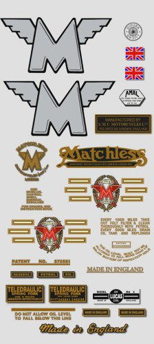 1957-58: Matchless Decals -RESTORERS DECALSET - G3 G80 Stickers (Adhesive transfers)