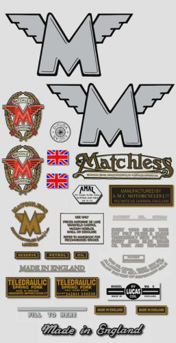 1955-56: Matchless Decals - RESTORERS DECALSET - G3 G80 Stickers (Adhesive Transfers)