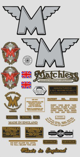 1950-52: Matchless Decals - RESTORERS DECALSET - G3 G80 Stickers (Adhesive transfers)