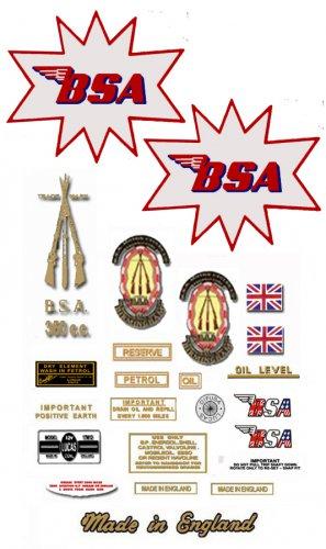 BSA B40 Enduro Star : 1964 to 66 - DECAL SET-  BSA B40E 350 Sticker set (Adhesive transfers)
