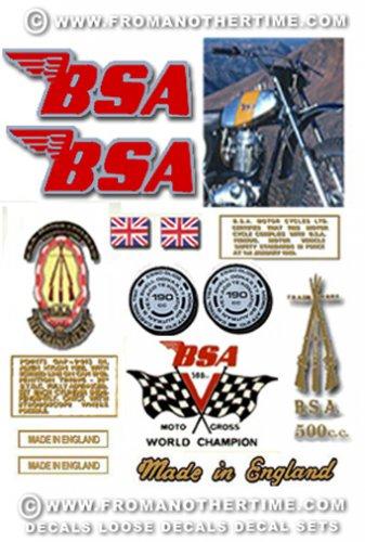 1971: BSA B50MX Decals - RESTORERS DECALSET - BSA Victor Moto cross Stickers (Adhesive transfers)