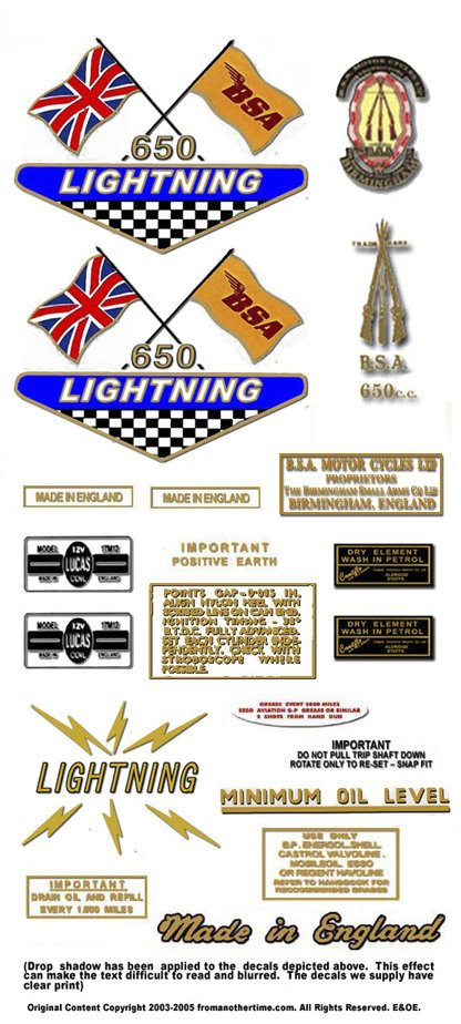 1968-69: BSA LIGHTNING - UK & General Export version Decals -BSA A65L (Adhesive Transfers)