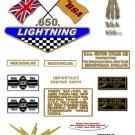 1968-69: BSA LIGHTNING - UK & General Export version Decals -BSA A65L (Adhesive Transfers)