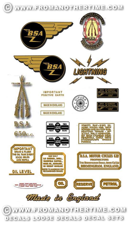 1964-65: BSA Lightning Rocket Decals - BSA A65D Stickers (Adhesive Transfers)