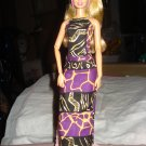 Purple & black African print long skirt, top, headband set - ed105