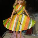 Circular skirt dress in bright print for Barbie - ed12