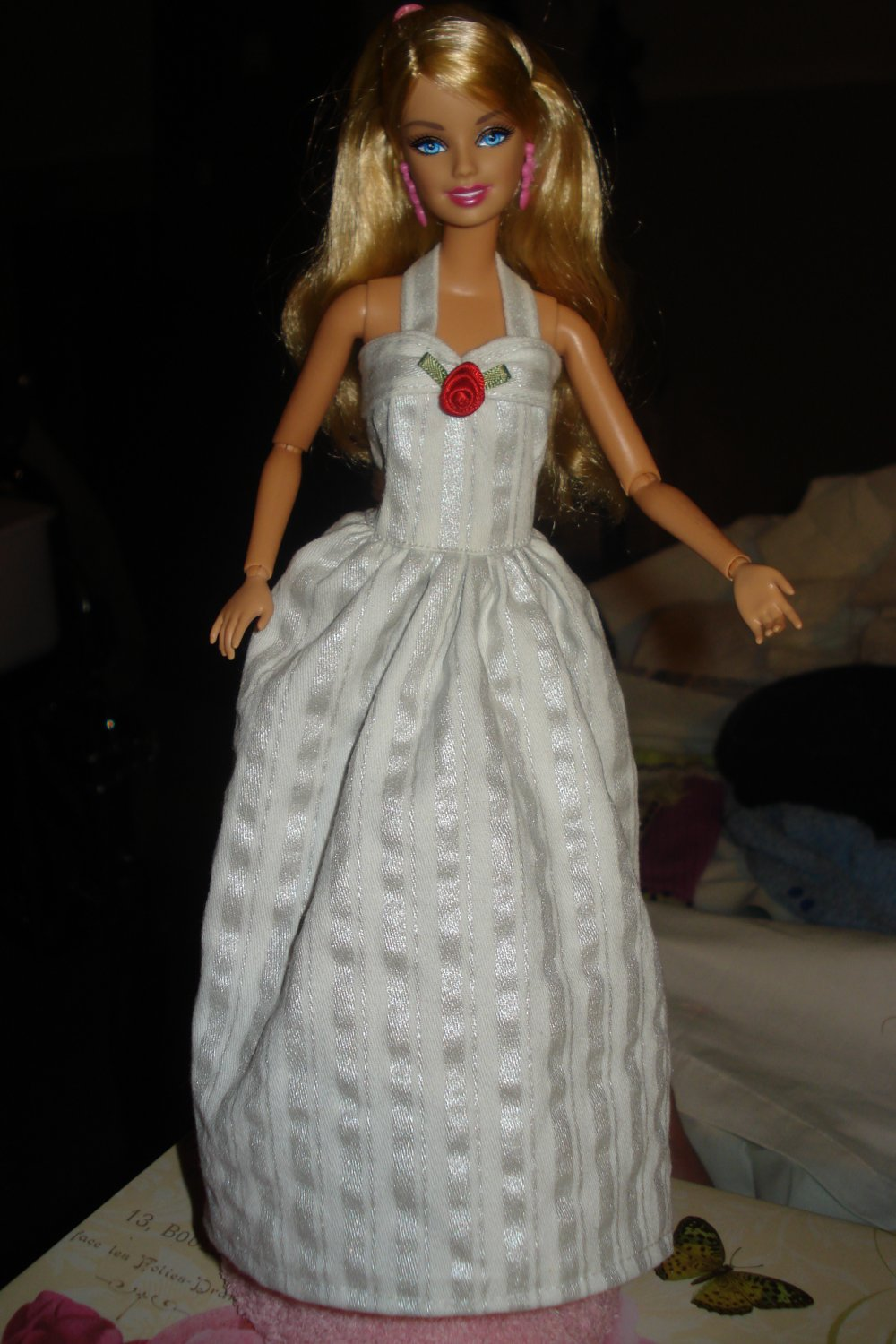 Metalic silver and white striped formal dress for Barbie Dolls - ed05