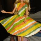 Circular skirt dress for Barbie Doll in orange, white and green print fabric - ed13