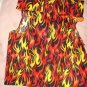 Medium size pet shirt / vest in red, orange, yellow flame print - dd10
